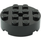 LEGO Black Brick 4 x 4 Round with Pinhole and Snapstud (87081)