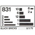 LEGO Black Bricks Parts Pack Set 831