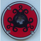 LEGO Black Disk 3 x 3 with Viking Shield Black Curly and Red Pattern Sticker