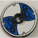 LEGO Black Disk 3 x 3 with White / Blue Viking Sticker