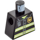 LEGO Black Fire-Fighter Torso with Jacket with Neon Yellow Horizontal Stripes and Golden Badge
