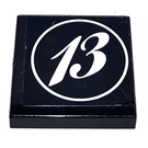 LEGO Black Tile 2 x 2 with 13 in a Circle Sticker with Groove