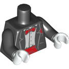 LEGO Black Minifig Torso with Smoking, Red Bow Tie, Red Cummerbund and White Gloves (88585)