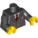 LEGO Noir Minifigure Torse avec Jacket avec Deux Rows of Buttons, Airline logo, rouge Necktie avec Noir Bras et Jaune Mains (76382)