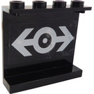 LEGO Black Panel 1 x 4 x 3 with Sticker from Set 4565 without Side Supports, Hollow Studs