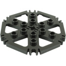 LEGO Black Plate 6 x 6 Hexagonal with Six Spokes and Clips (64566)