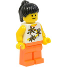 LEGO Black Ponytail hair, Yellow flowers torso, Orange Legs Minifigure