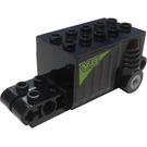 LEGO Black Pullback Motor 4 x 8 x 2.33 with Lime 'V8' Pattern on Both Sides Sticker