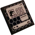 LEGO Black Roadsign Clip-on 2 x 2 Square with Raptor File 4/9 Sticker with Open 'O' Clip