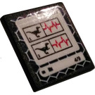 LEGO Black Roadsign Clip-on 2 x 2 Square with Raptor Heart Monitors Sticker with Open 'O' Clip
