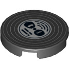LEGO Black Round Tile 2 x 2 with Record Decoration with Normal Bottom (10890)