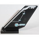 LEGO Black Shuttle Tail 2 x 6 x 4 with 'RAF-170' and Silver and Medium Azure Pattern (Left) Sticker