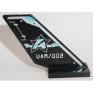 LEGO Black Shuttle Tail 2 x 6 x 4 with 'UAM/002' and Ultra Agents Logo (Both Sides) Sticker