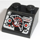 LEGO Black Slope 2 x 2 (45°) with Controls and Target Screen Sticker