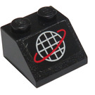 LEGO Black Slope 2 x 2 (45°) with White Globe and Red Ring Sticker
