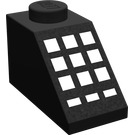 LEGO Black Slope 45° 2 x 1 with 9 + 3 White Buttons