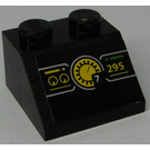 LEGO Black Slope 45° 2 x 2 with Tachometer and Yellow '295' Sticker