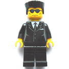 LEGO Black Suit, Blue Sunglasses, Flat Topped Hair Minifigure