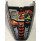 LEGO Black Technic Throwbot Visor with Torch, Fire Pattern