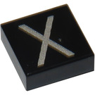 LEGO Black Tile 1 x 1 with Letter X Decoration with Groove (11587 / 14851)