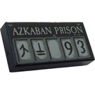 LEGO Black Tile 1 x 2 with 'AZKABAN PRISON' and '93' with Groove