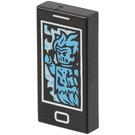 LEGO Black Tile 1 x 2 with Cell Phone With Azur Ghost with Groove (56205)