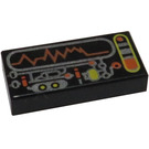 LEGO Black Tile 1 x 2 with Control Panel and Wavelength Decoration with Groove