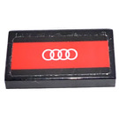 LEGO Black Tile 1 x 2 with White Audi emblem (4 rings) on red background  Sticker with Groove