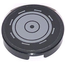 LEGO Black Tile 2 x 2 Round with Concentric Circles and Line Segments Sticker with Bottom Stud Holder