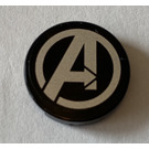 LEGO Black Tile 2 x 2 Round with silver Avengers logo Sticker with Bottom Stud Holder