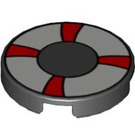 """LEGO Black Tile 2 x 2 Round with White and Red Life Preserver with """"X"""" Bottom (56075)"""