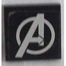 LEGO Black Tile 2 x 2 with Avengers Logo Sticker with Groove