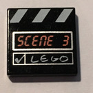 LEGO Tile 2 x 2 with Clapboard, Scene 3 with Groove (3068)