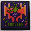 LEGO Black Tile 2 x 2 with Dark Purple Troll Head and 'TROLLEX' Sticker with Groove