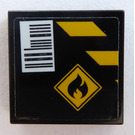 LEGO Black Tile 2 x 2 with Flammable Sign and Barcode Sticker with Groove