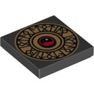 LEGO Black Tile 2 x 2 with Heroica Runes with Groove (93954)