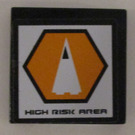 """LEGO Black Tile 2 x 2 with """"High Risk Area"""" and Triangle-in-Hexagon Sticker"""