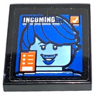 LEGO Black Tile 2 x 2 with Incoming Video Call Sticker with Groove