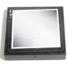 LEGO Black Tile 2 x 2 with Mirror, large, White Border Sticker with Groove