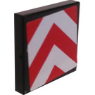 LEGO Black Tile 2 x 2 with Vee Hazard Stripes Sticker