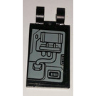 LEGO Black Tile 2 x 3 with Horizontal Clips with SW machinery and left side Sticker ('U' Clips)