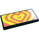 LEGO Black Tile 2 x 4 with Coral and Yellow Holographic Heart Sticker