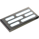 LEGO Black Tile 2 x 4 with Light Panel Sticker