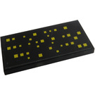 LEGO Black Tile 2 x 4 with Yellow Squares, Type 2 Sticker