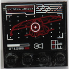 LEGO Black Tile 4 x 4 with Studs on Edge with Target on Droid Gunship Display Sticker