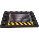 LEGO Black Tile 4 x 6 with Edge Studs with Vent, Rivets, and Yellow/Black Hazard Stripes (Pattern 1) Sticker