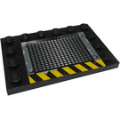 LEGO Black Tile 4 x 6 with Edge Studs with Vent, Rivets, and Yellow/Black Hazard Stripes (Pattern 2) Sticker