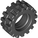 LEGO Black Tire Ø15 X 6mm with Offset Tread with Band Around Center of Tread (87414)