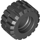 LEGO Black Tire 21mm D. x 12mm - Offset Tread Small Wide with Slightly Bevelled Edge and no Band (6015)