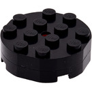 LEGO Black Turntable 4 x 4 Complete Faceted Old Style